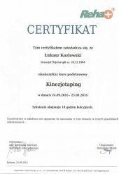 Certyfikat Kinezjotaping- Łukasz Kozłowski